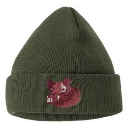 Čepice pletená divočák vyšívka