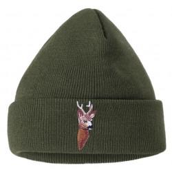 Čepice pletená srnec vyšívka