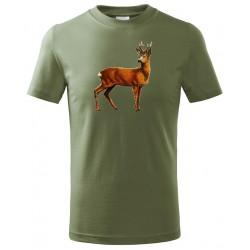 Tričko Srnec barevný - khaki
