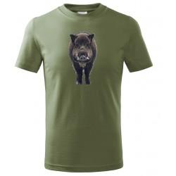 Tričko Divočák barevný - khaki