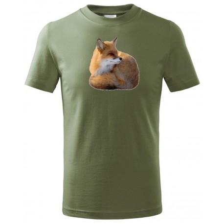 Tričko Liška barevný - khaki