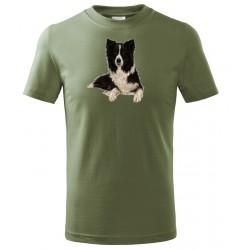 Tričko Pes barevný - khaki